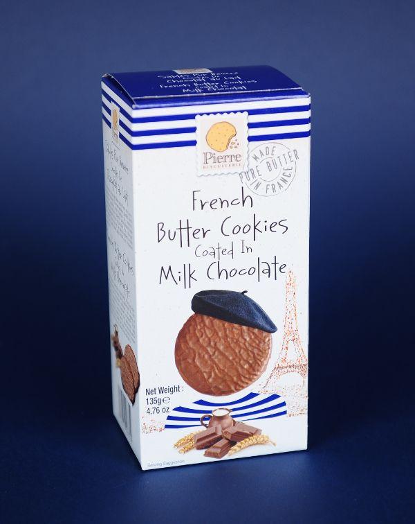 Biscuiti cu unt si ciocolata cu lapte 135G